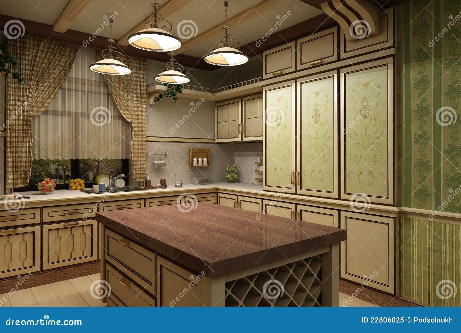De keuken in de d rustiek stijl stock illustratie illustratie