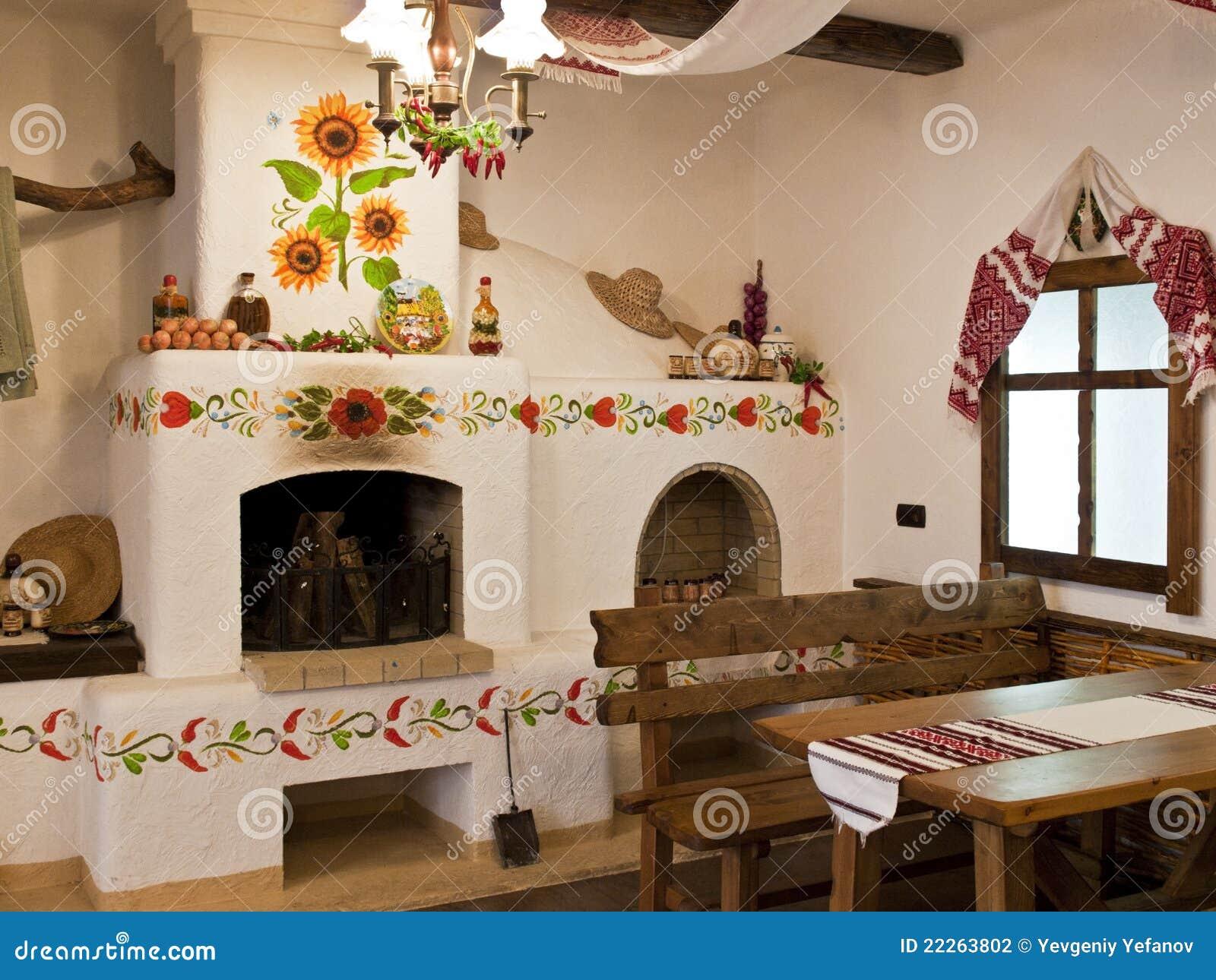 De keuken in de oude slavische stijl stock foto afbeelding