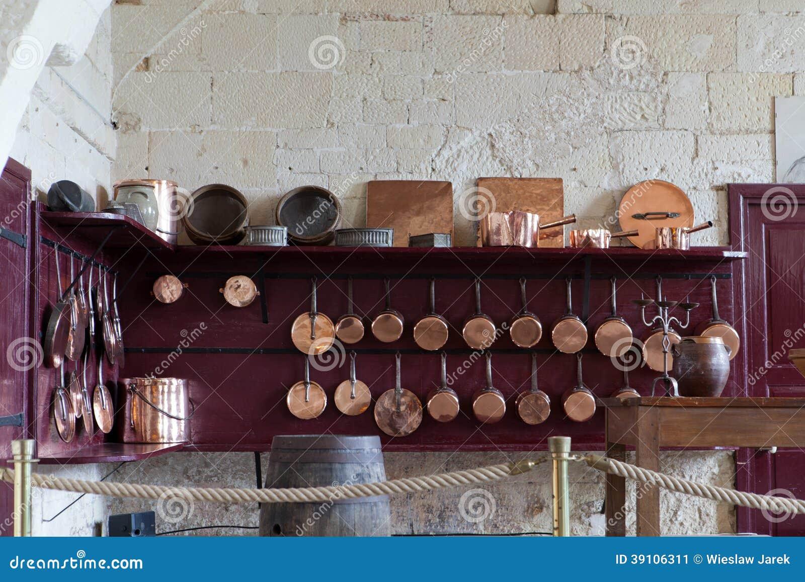 De keuken in Valencay-kasteel. Vallei van de Loire,