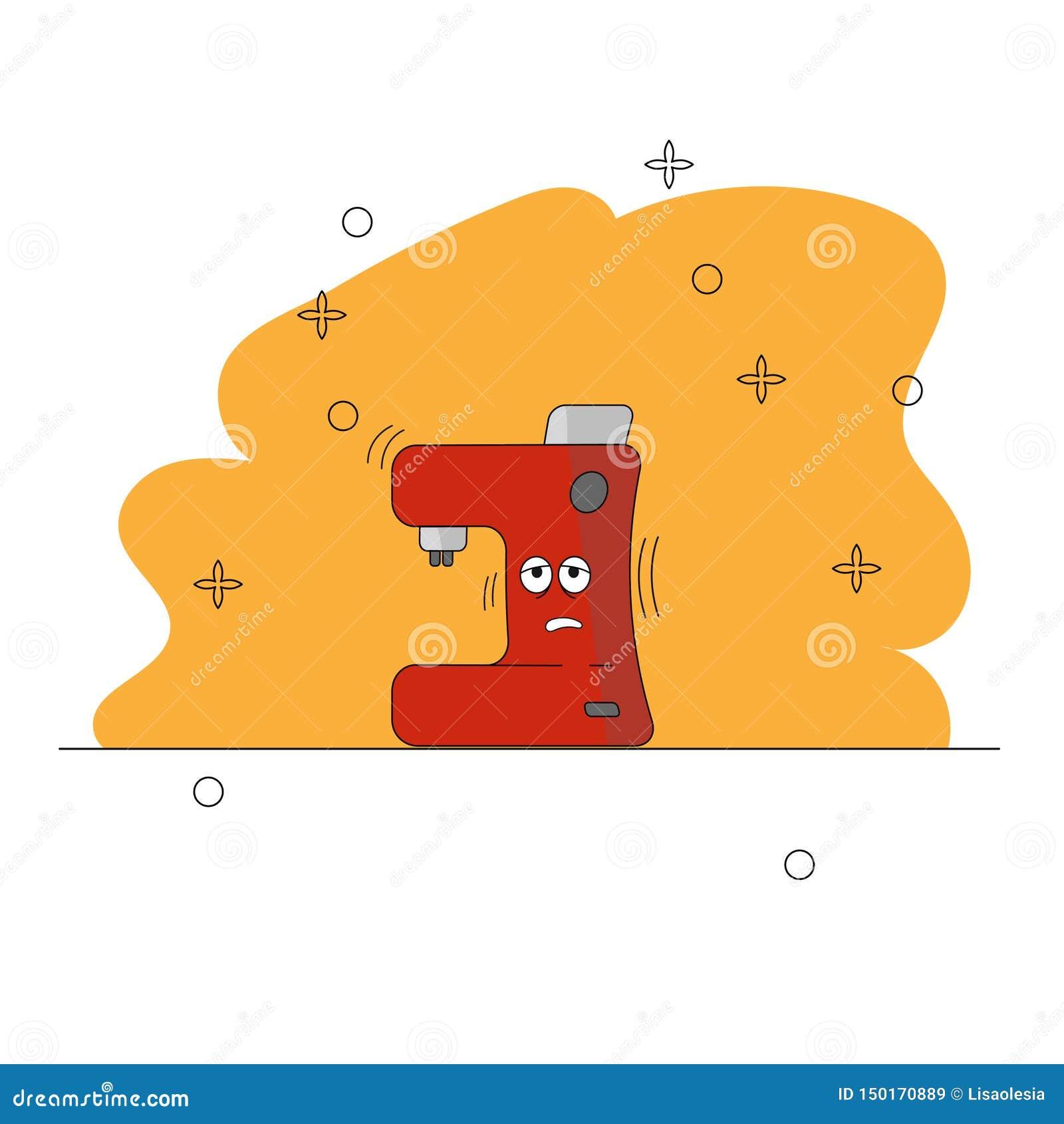De keukentoestellen van het beeldverhaal Slaperige Koffiezetapparaat Grappig karakter Een rood en grijs Koffiezetapparaat met oge