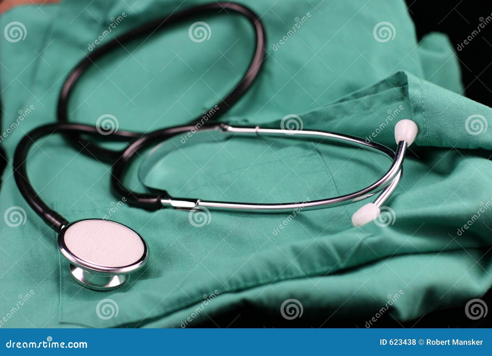 De kiel van de stethoscoop en van de verpleegster.