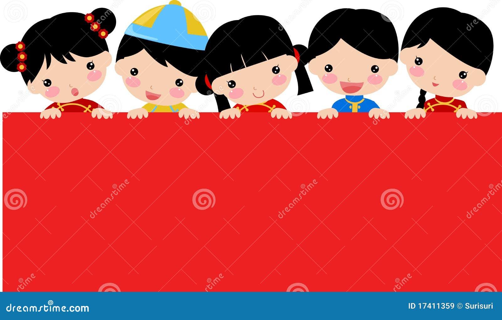 De kinderen en de banner van Greetings_chinese van het nieuwjaar