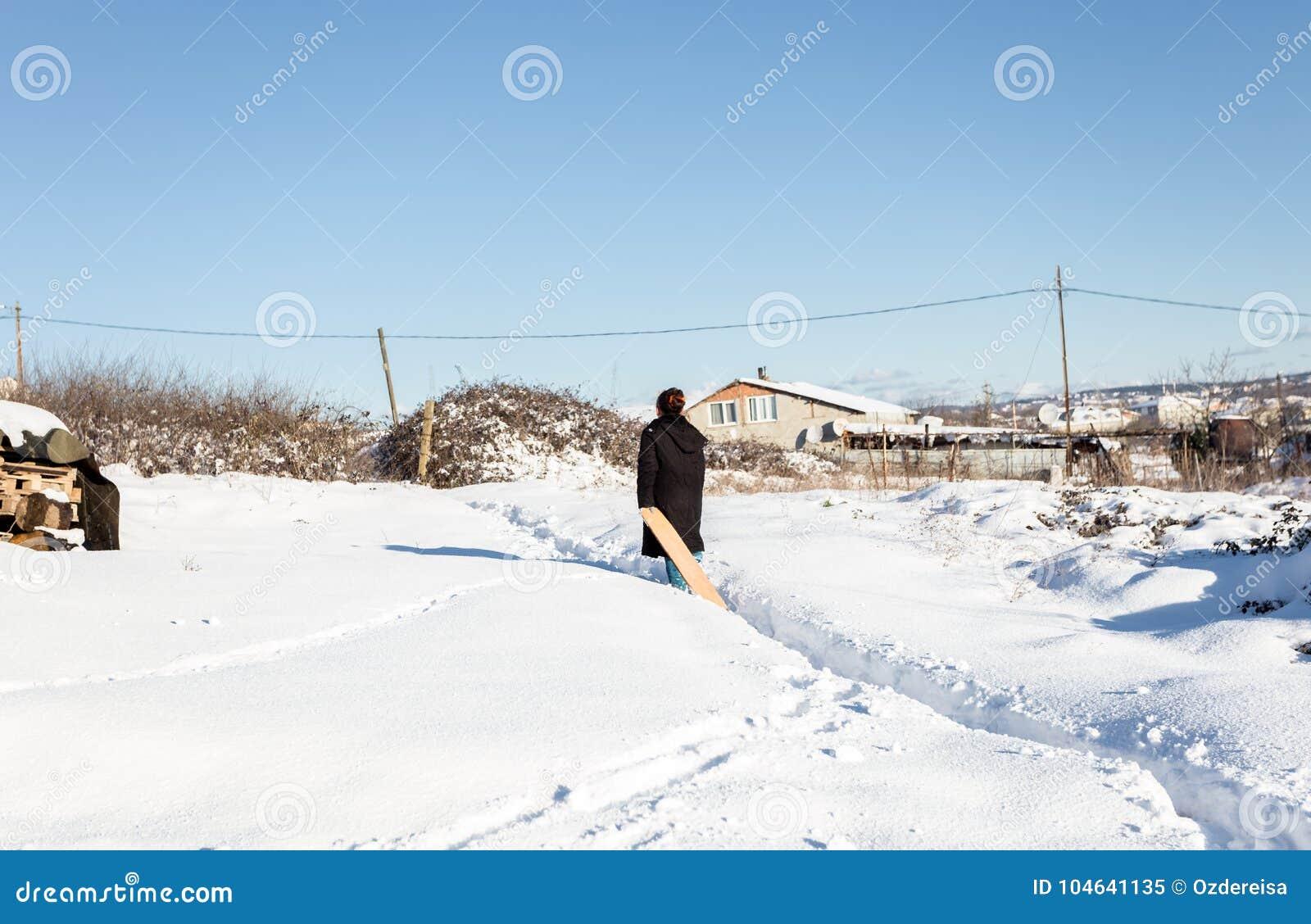 De kinderen hebben pret op sneeuw in de winter