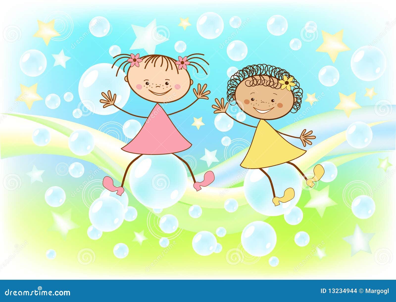 De kinderen vliegen op zeepbels.