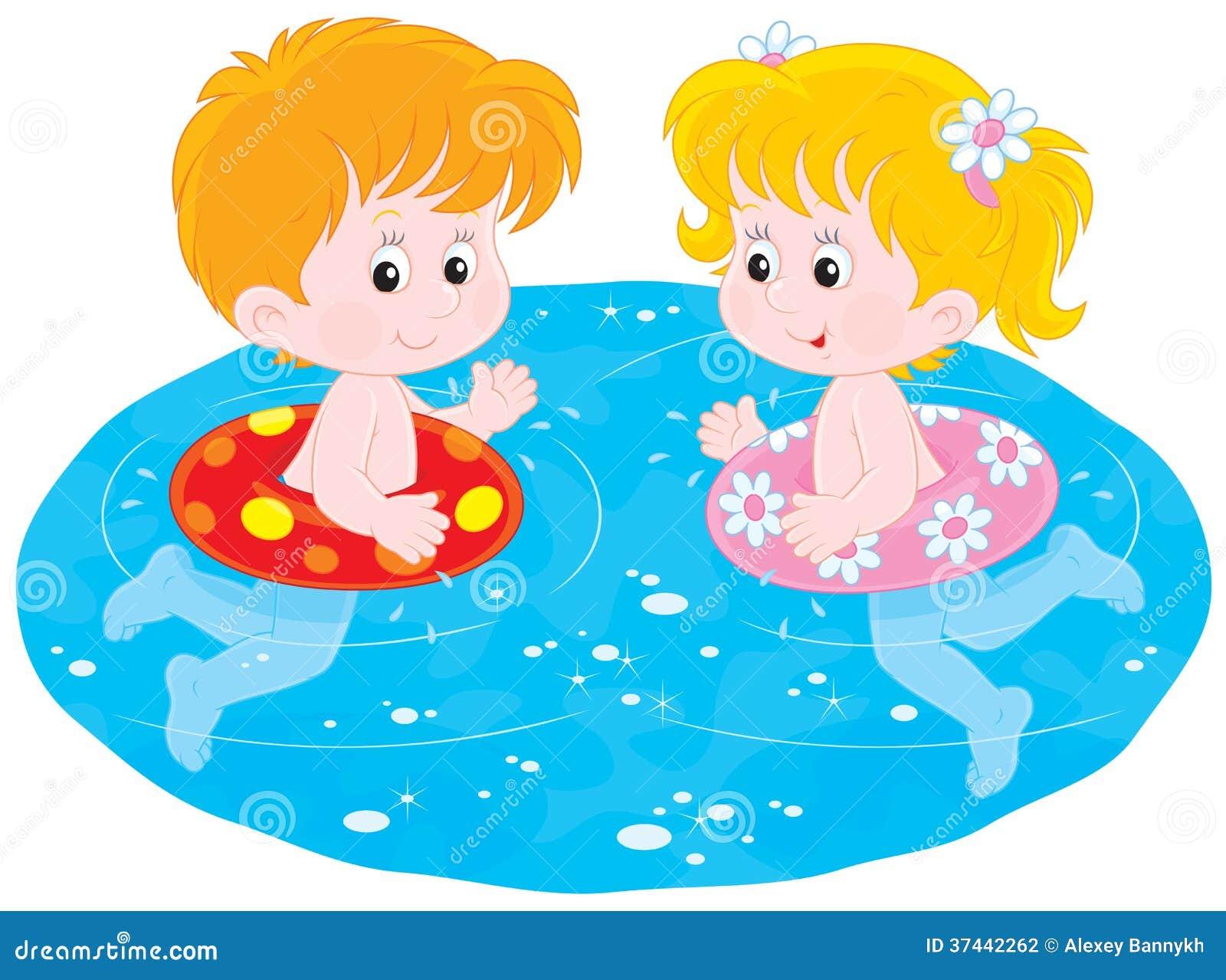 De Kinderen Zwemmen Met Opblaasbare Cirkels Vector