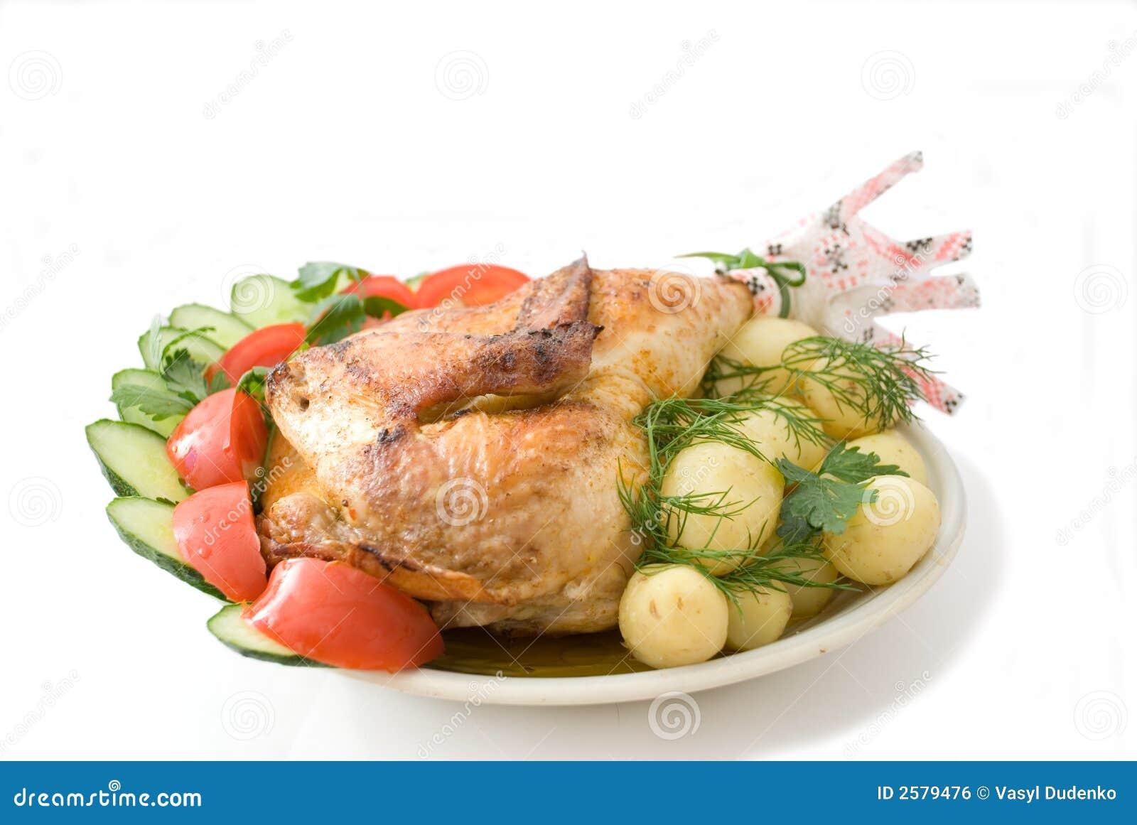 De kip van het gebraden gerecht
