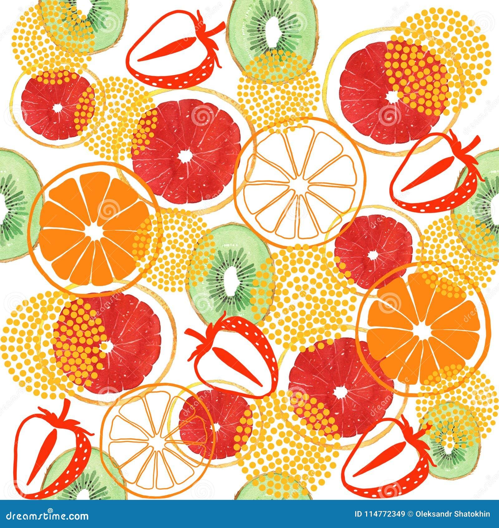 De kiwi van de waterverfgrapefruit en oranje naadloos patroon
