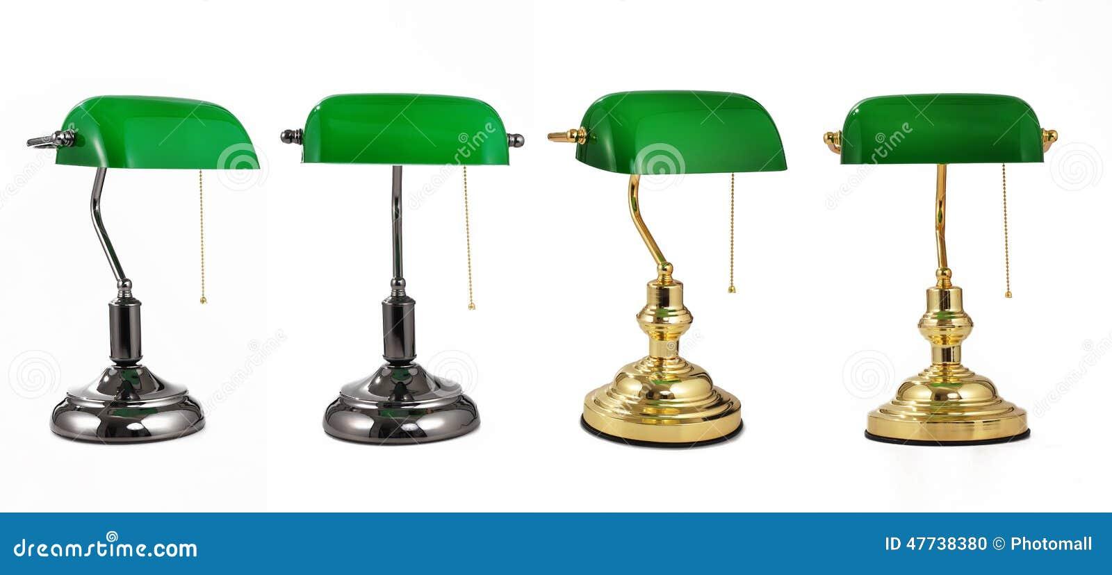 De Klassieke Lamp Van Het Bankiersbureau Met Gouden