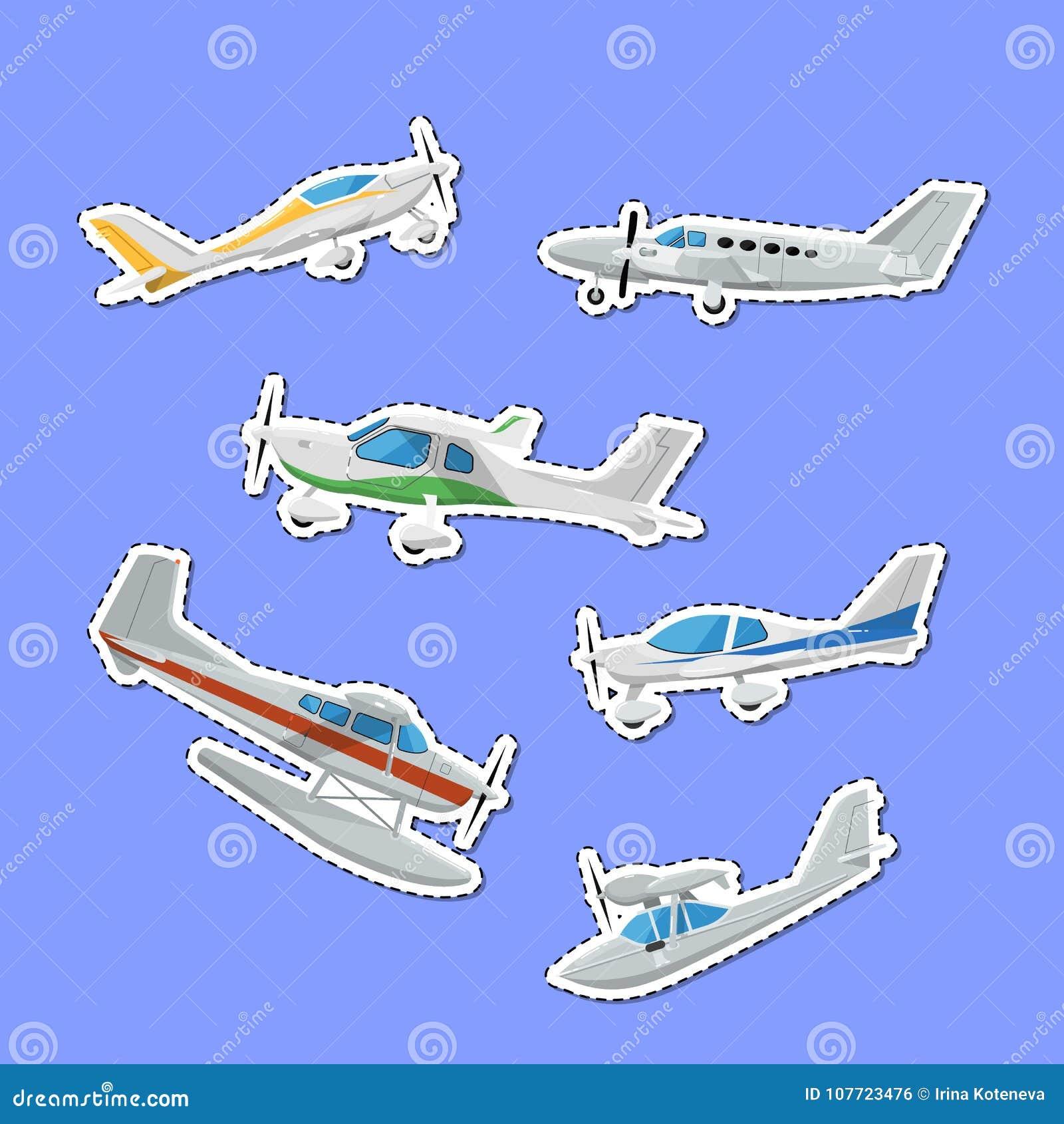 De kleine propellervliegtuigen isoleerden etiketten