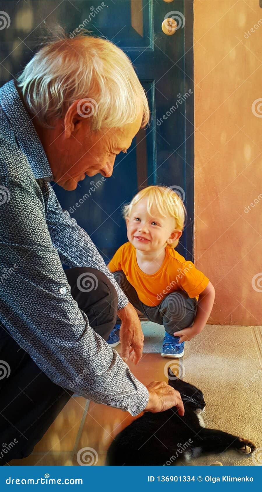De kleine twee-jaar-oude jongen glimlacht gelukkig en bekijkt zijn grootvader met bewondering, die een kat strijkt