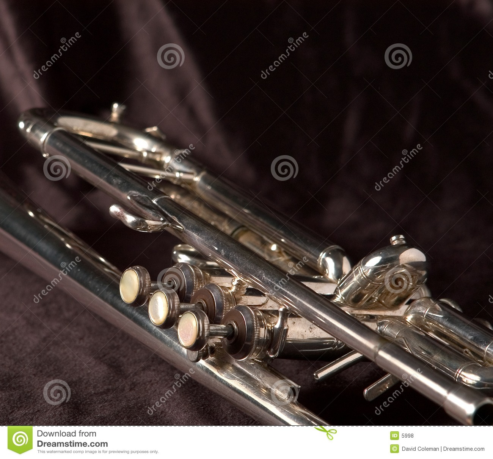 De kleppen van de trompet op zwarte