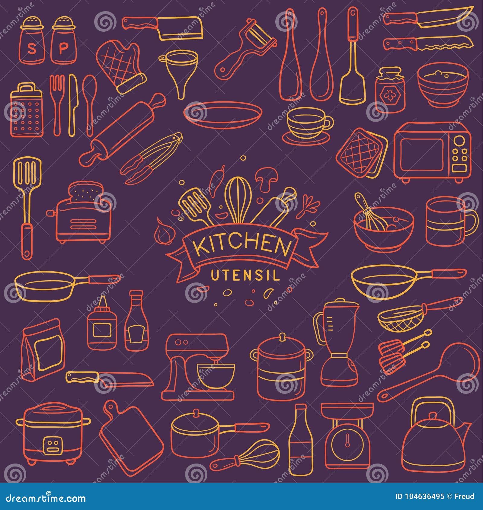 Download De Kleur Van Het Het Werktuigneon Van De Krabbelkeuken Vector Illustratie - Illustratie bestaande uit oven, getrokken: 104636495