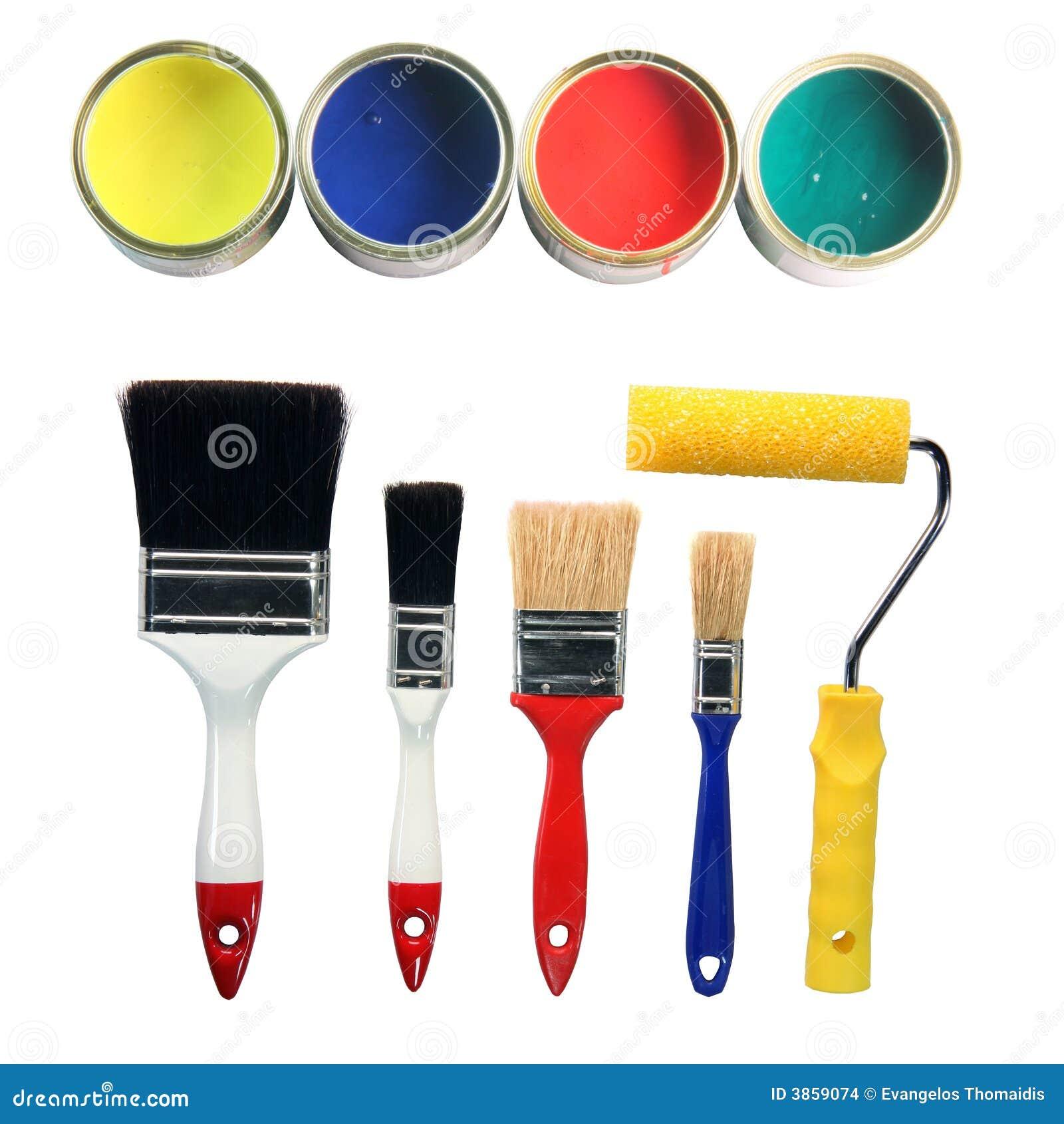 De kleuren en de hulpmiddelen van de verf