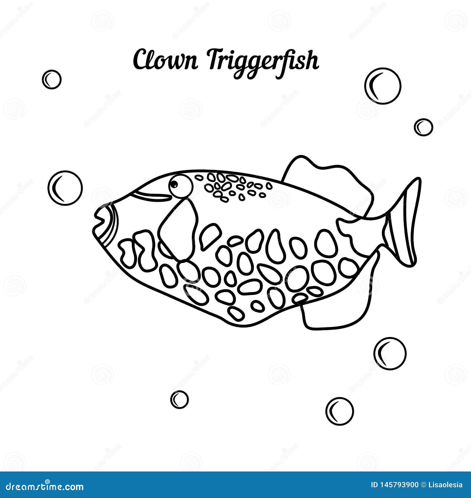 De kleurende Clown Triggerfish van boek Tropische vissen - Balistoides-bubbless conspicillum whith Beeldverhaal marien karakter