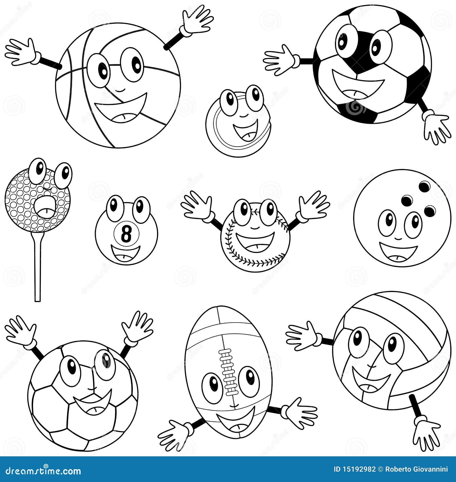 de kleurende karakters de ballen de sport stock