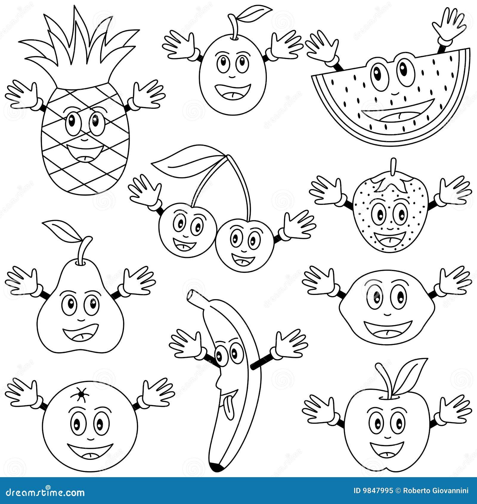 De kleurende Karakters van het Fruit