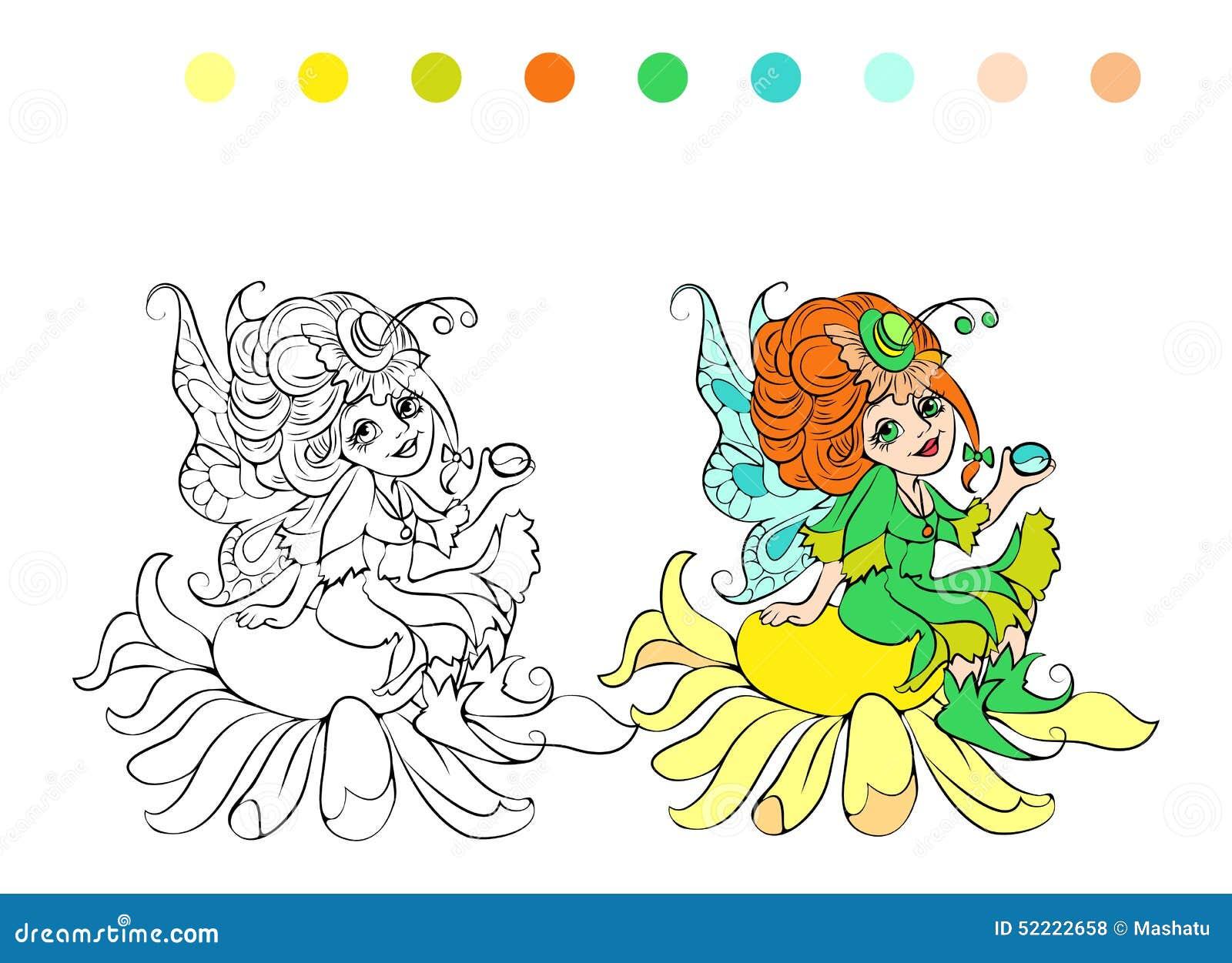 de kleurende pagina de beeldverhaalfee vector