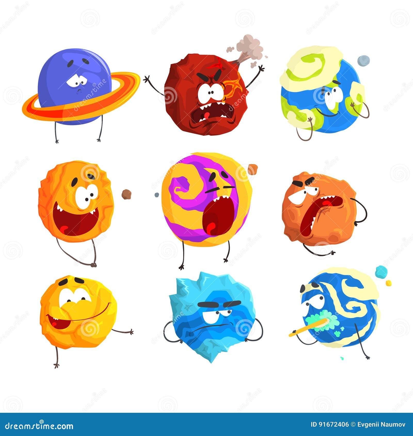 De kleurrijke beeldverhaalplaneten met grappige gezichten en verschillende emoties plaatsen voor etiketontwerp Gedetailleerde vec
