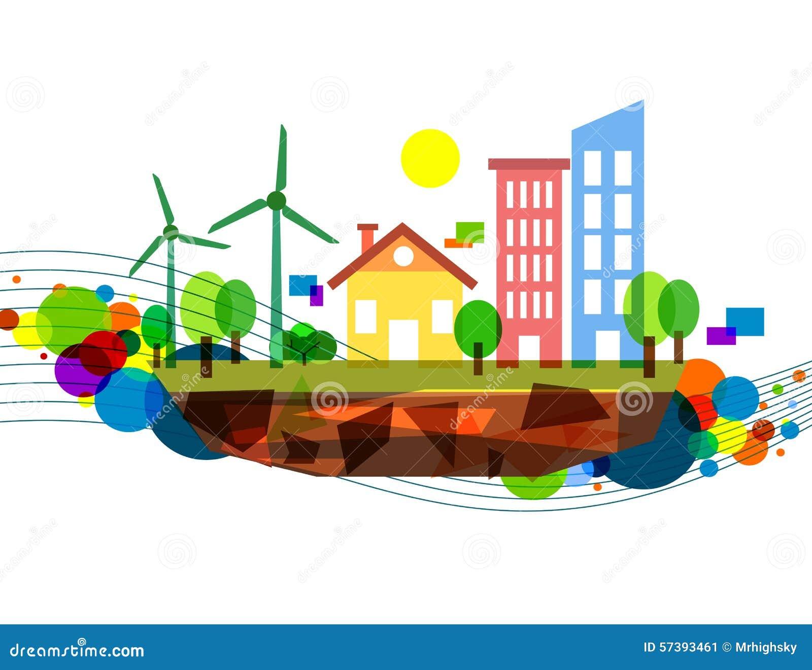 De kleurrijke illustratie van de windenergie
