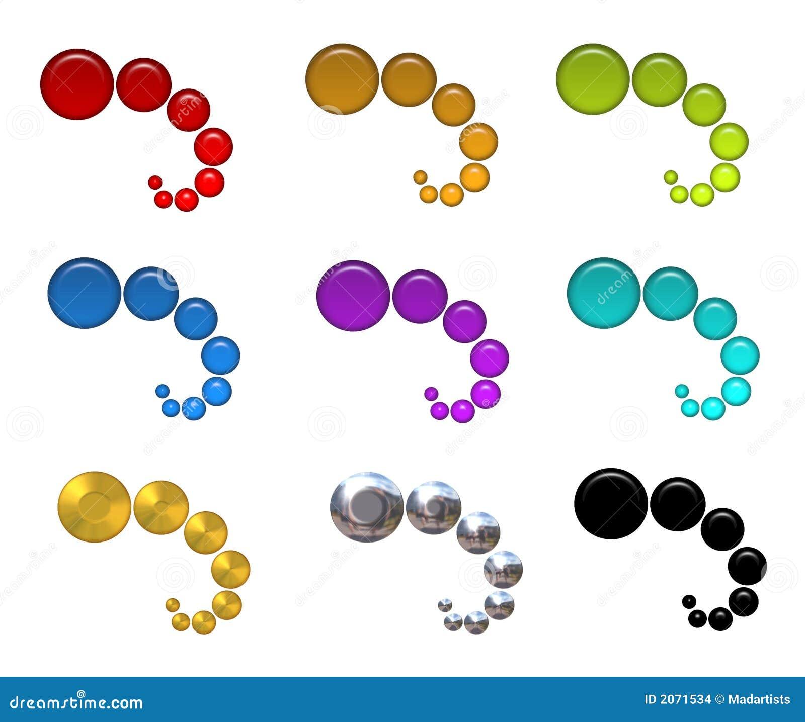 De kleurrijke Pictogrammen van het Web van Bellen