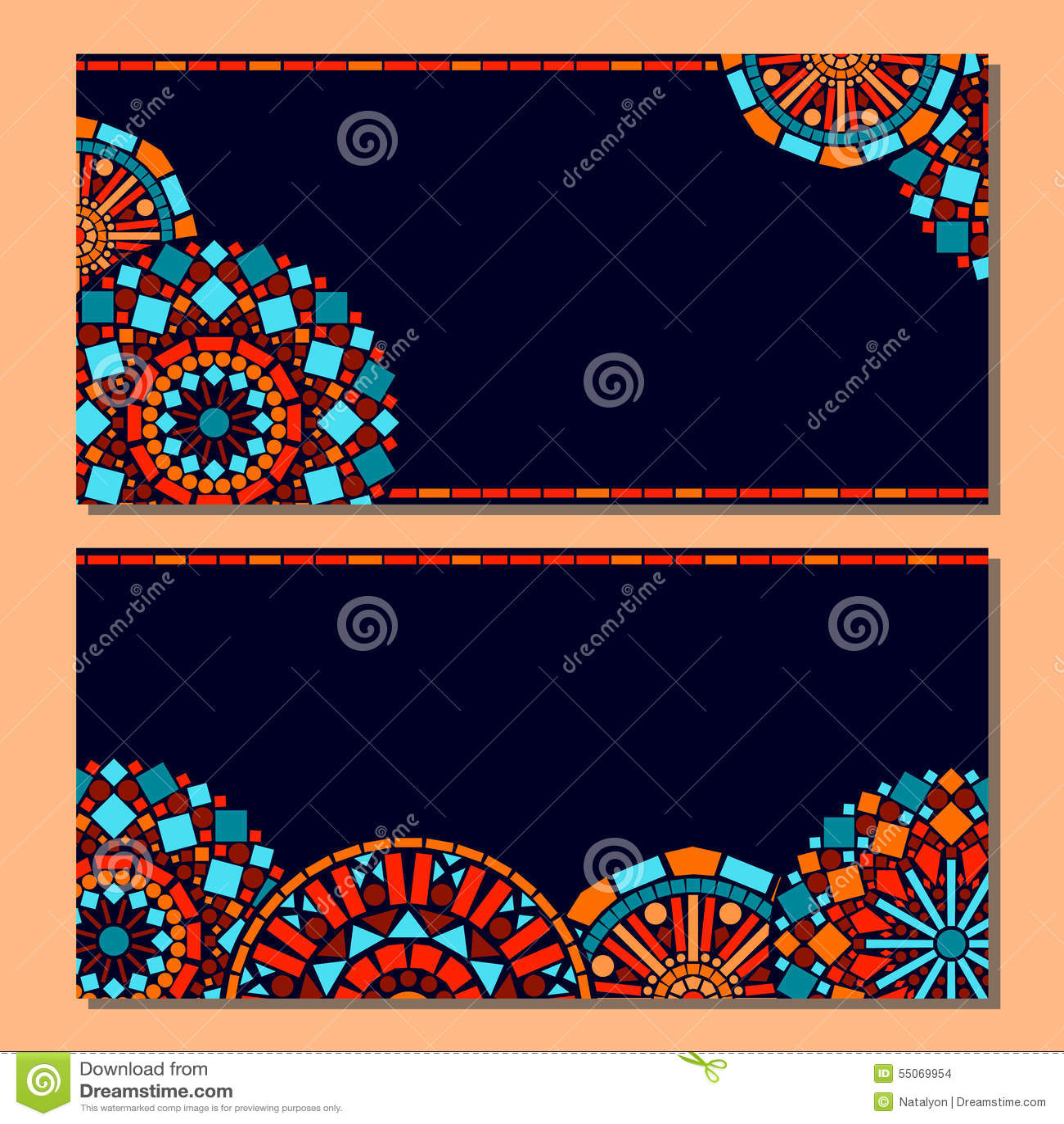 De kleurrijke reeks van cirkel bloemenmandala van kadersachtergrond in blauw en sinaasappel, vector