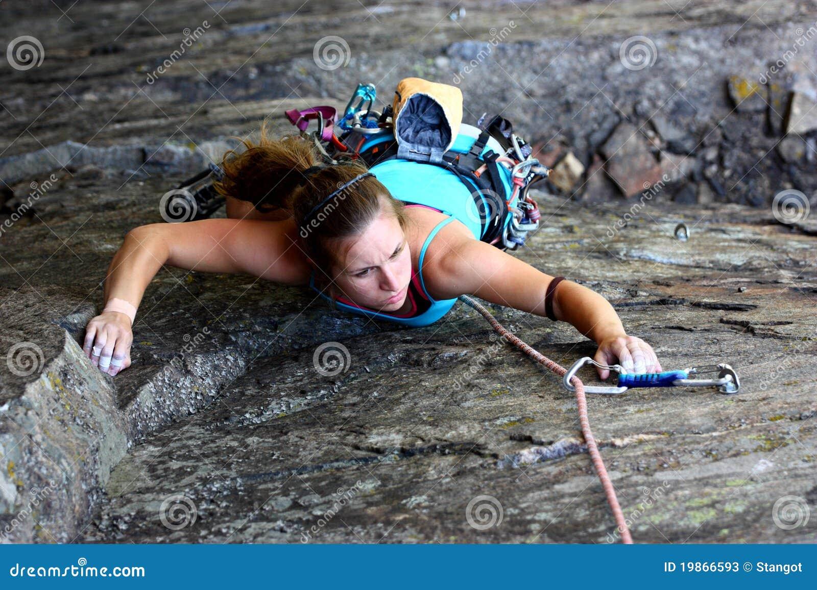 De klimmer van de rots