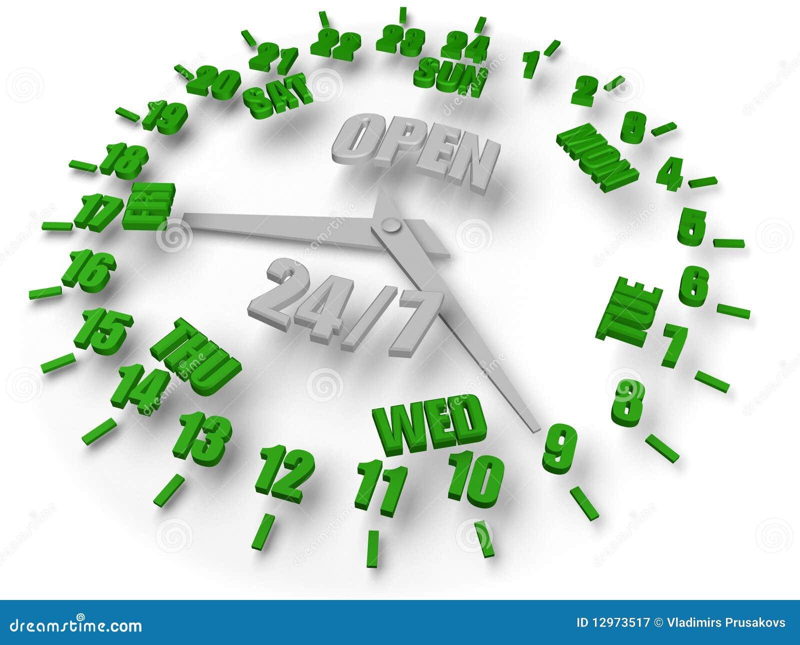De klok van de week. Open 24/7