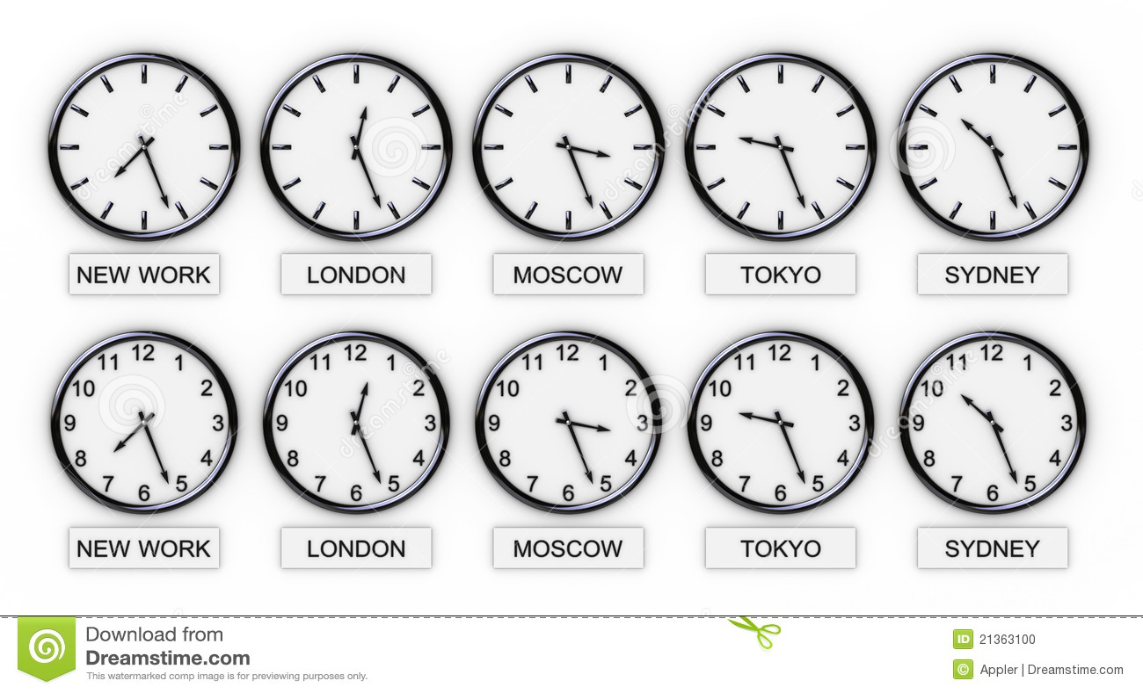 De Klokken Van De Wereld Tijd Stock Foto Afbeelding