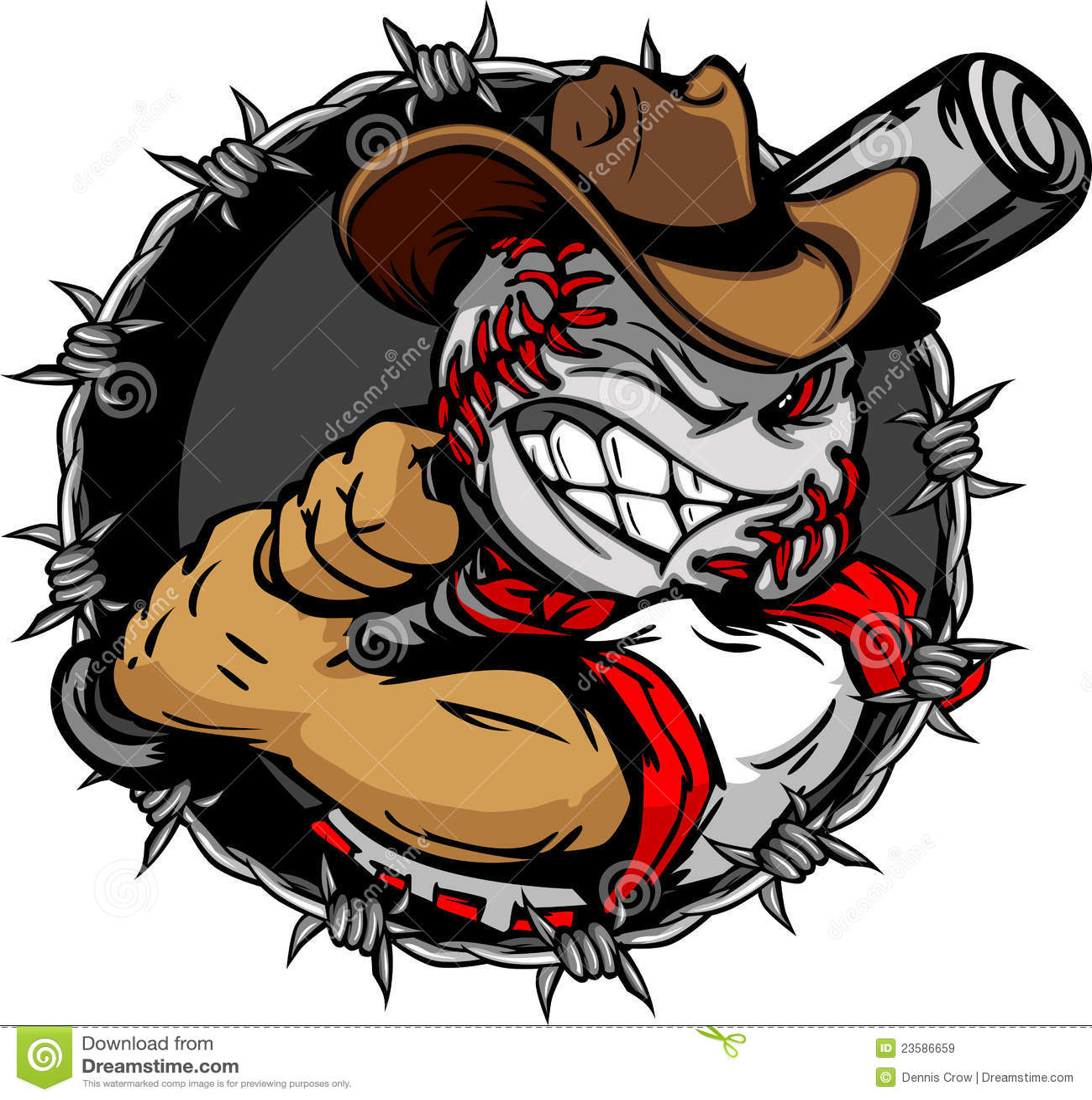 De Knuppel van het Honkbal van de Holding van het Gezicht van het Honkbal van de Cowboy van het beeldverhaal