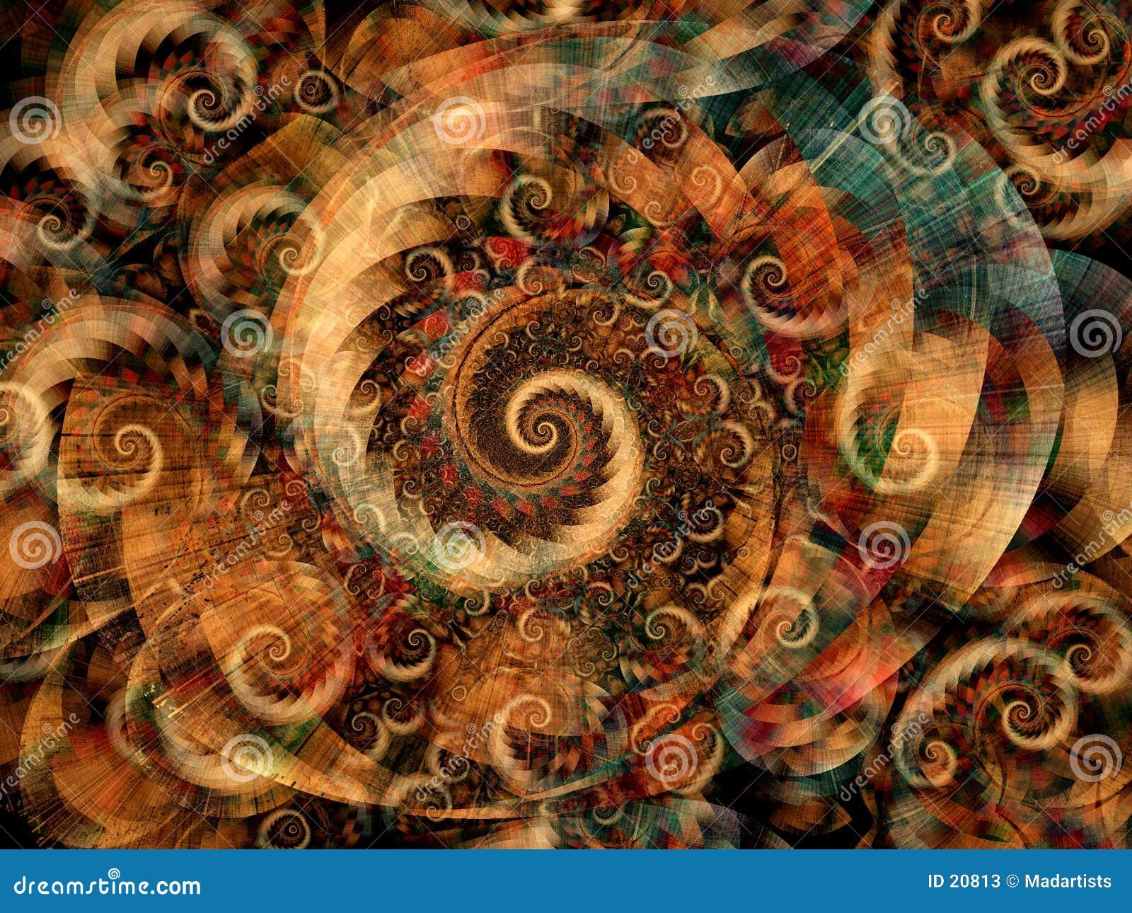 De koele Fractals Spiralen van Wervelingen