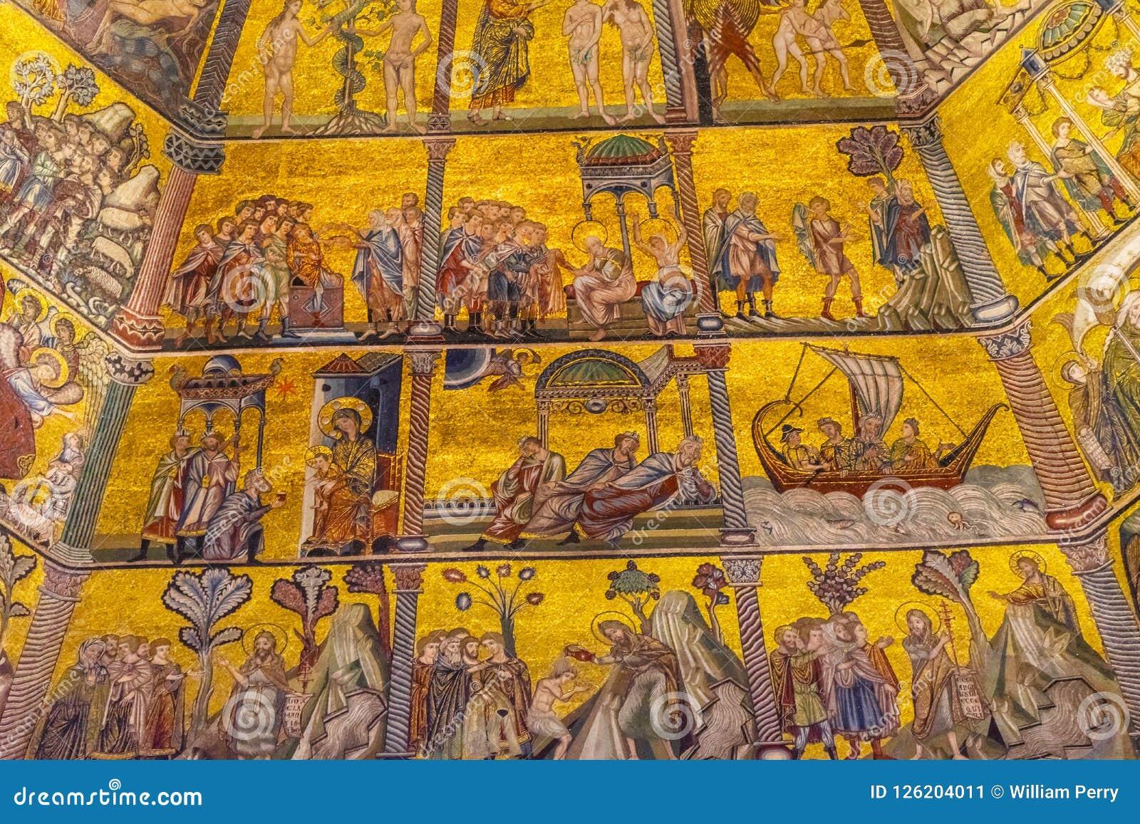 De Koepel Bapistry Heilige John Florence Italy van het bijbelmozaïek