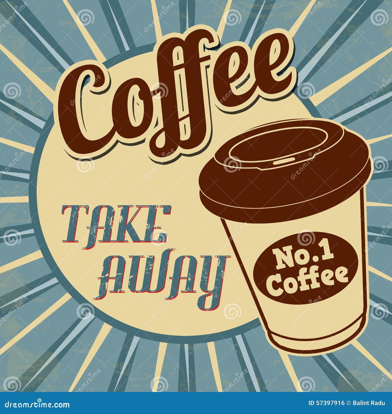 De koffie, haalt retro affiche weg