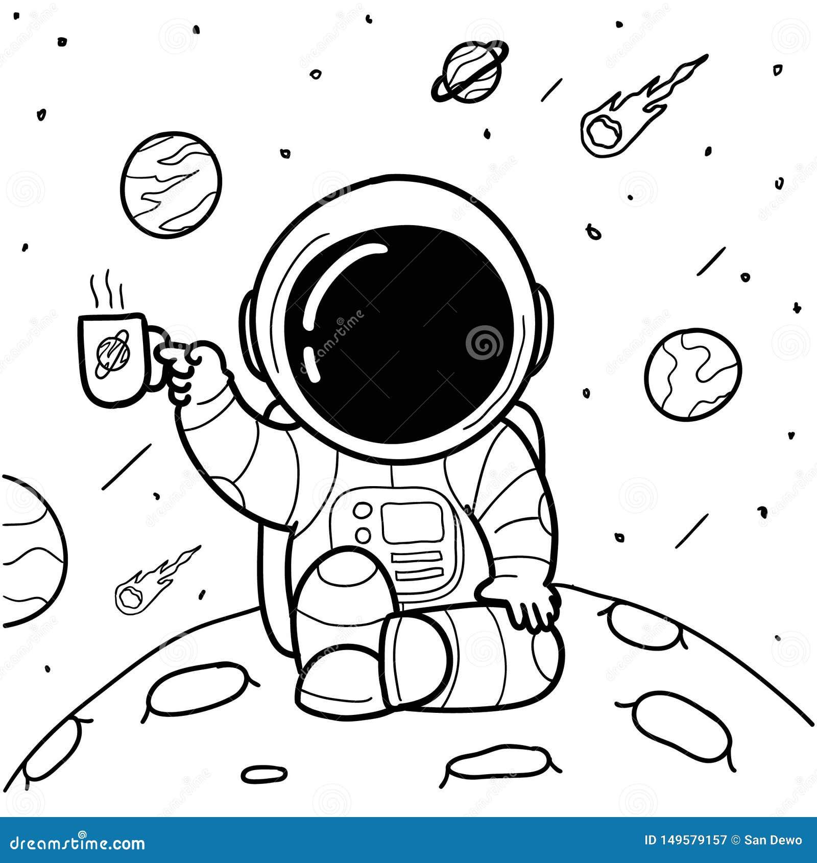 De koffieastronauten overhandigen getrokken