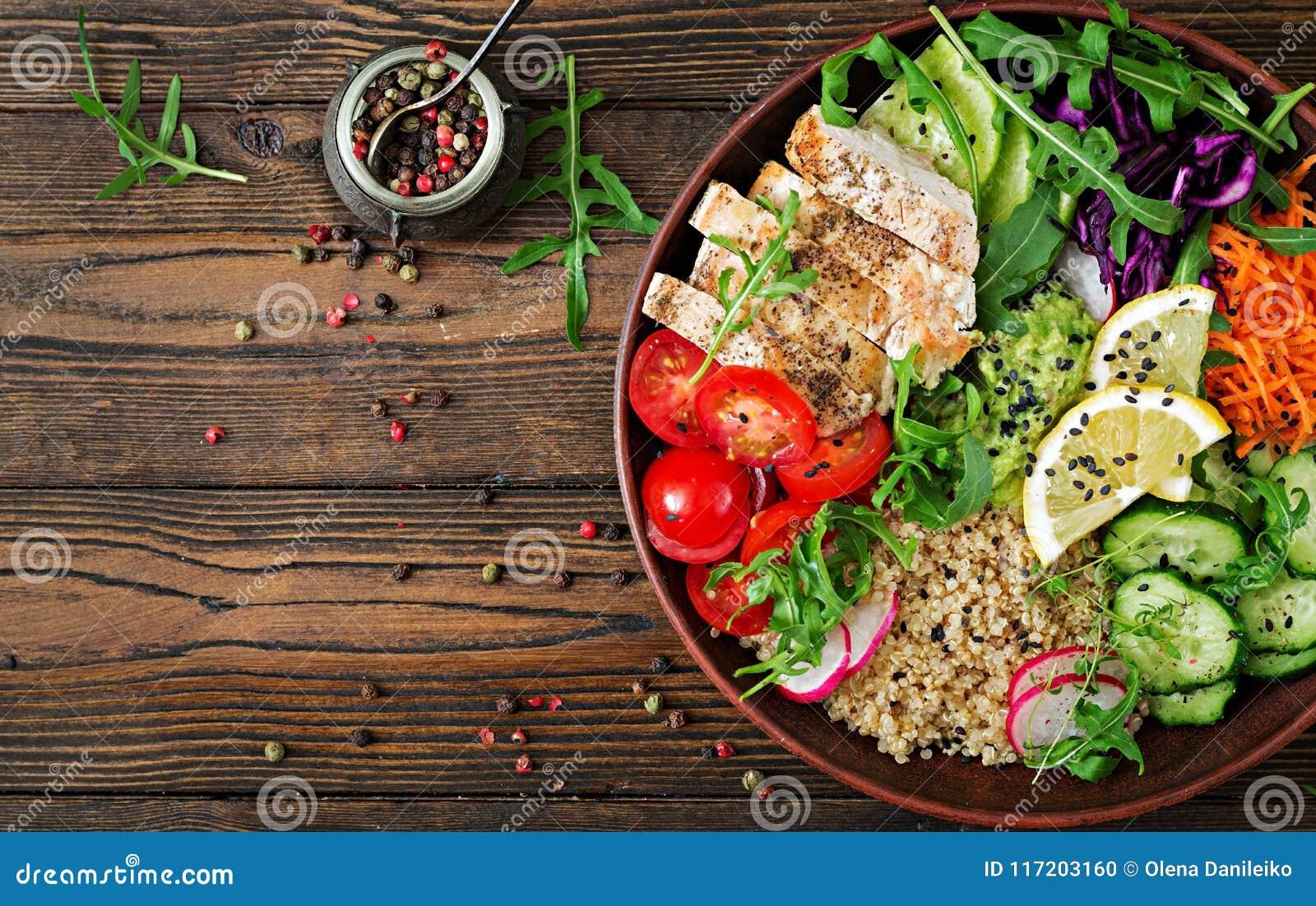 De komlunch van Boedha met geroosterde kip en quinoa, tomaat, guacamole