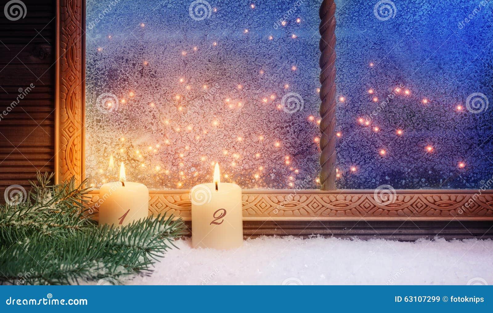 2de komst vensterdecoratie stock afbeelding afbeelding