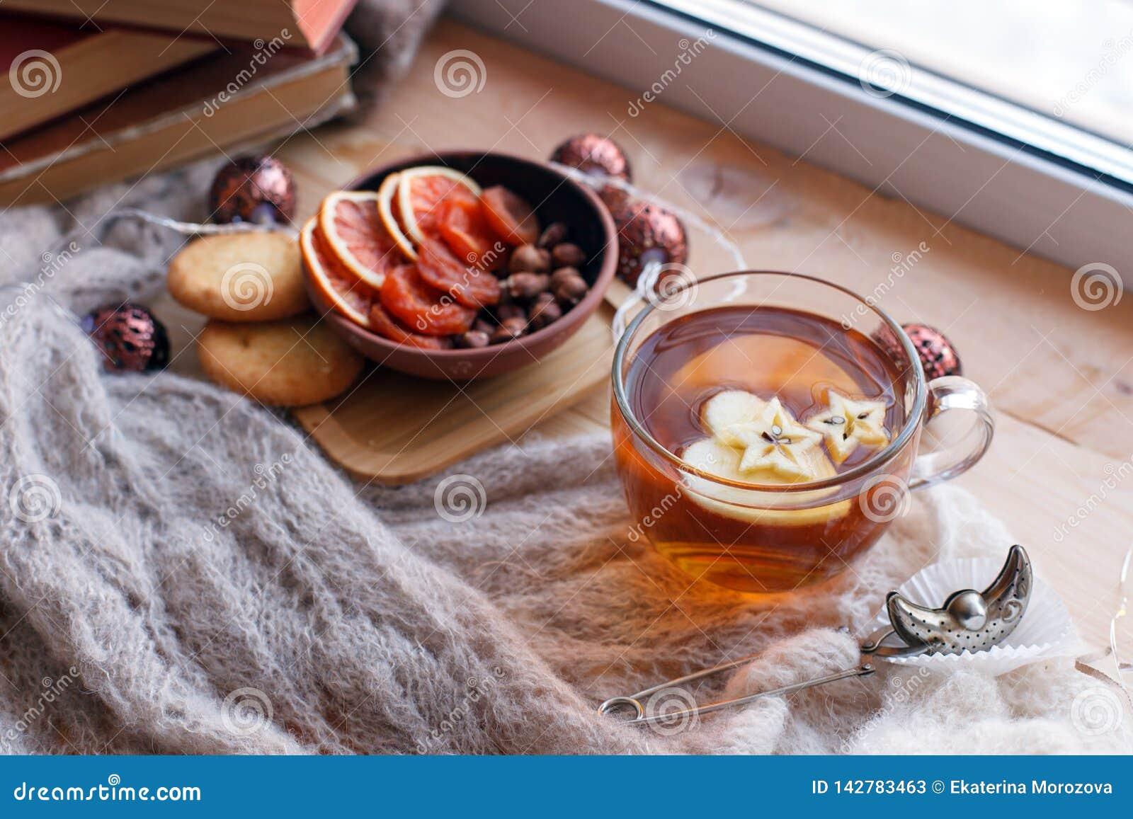 De kop thee, de snacks, het boek en de warme deken op vensterbank, sluiten omhoog, ontspannen afsluiten achtergrond, seizoengebon