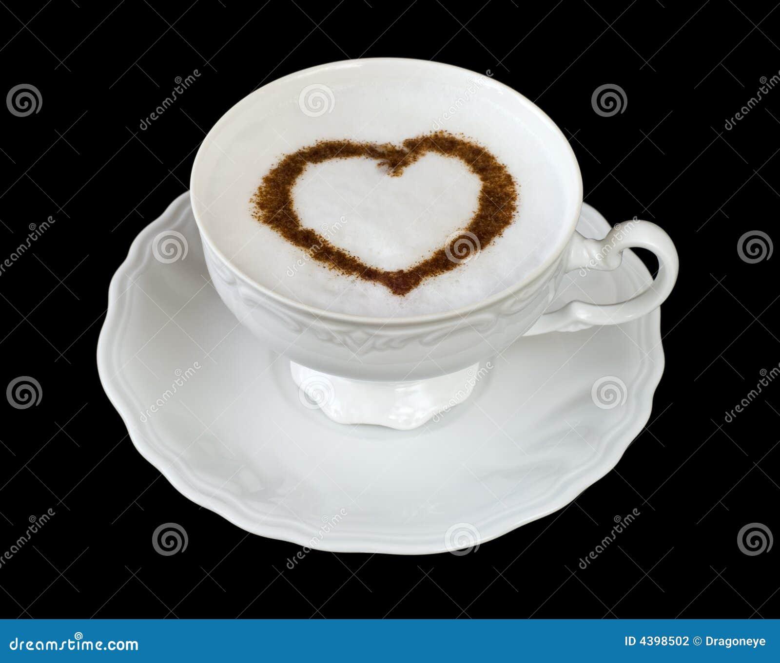 De kop van de koffie met hartvorm