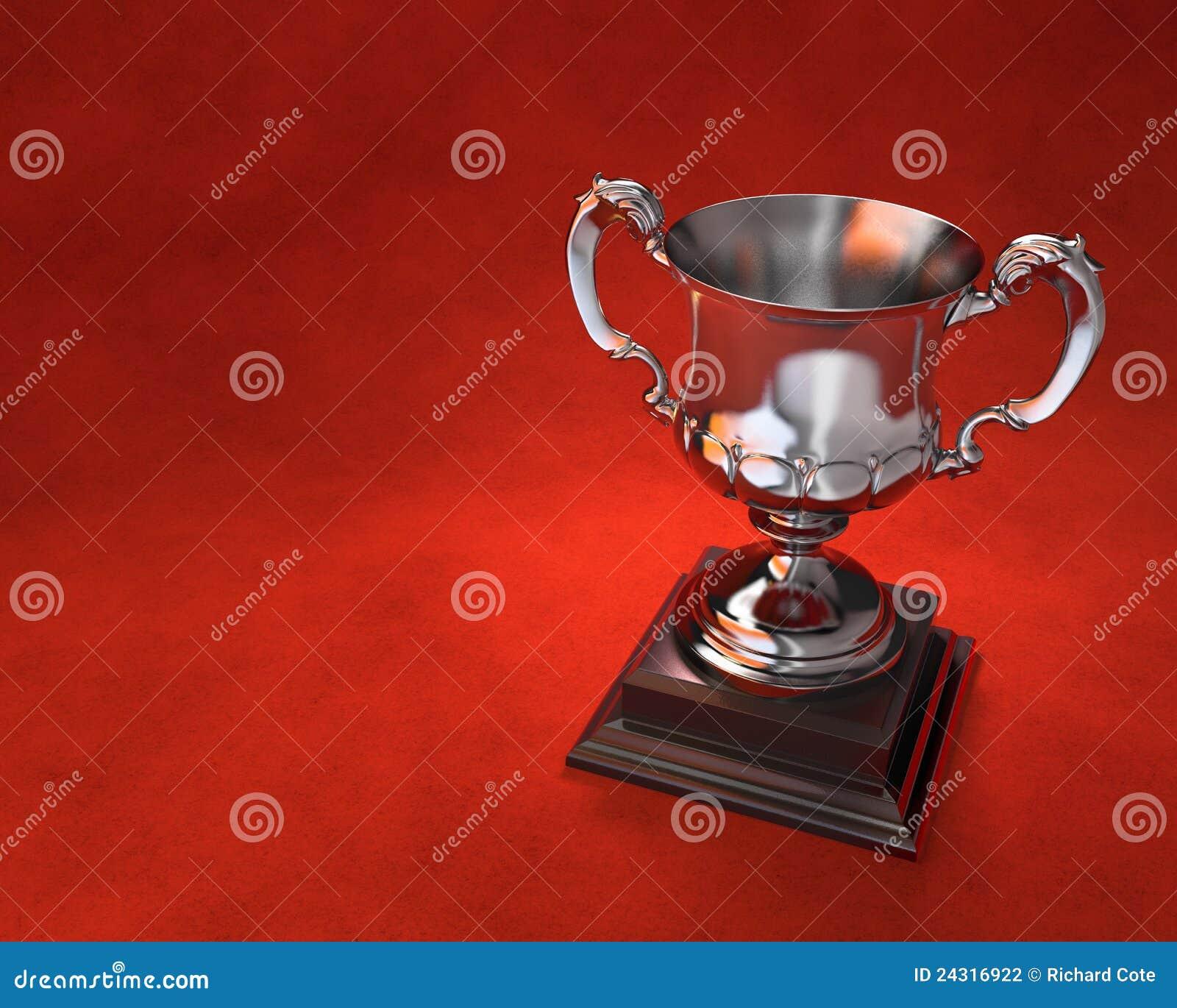 De kop van de trofee op stenen rand met rode achtergrond