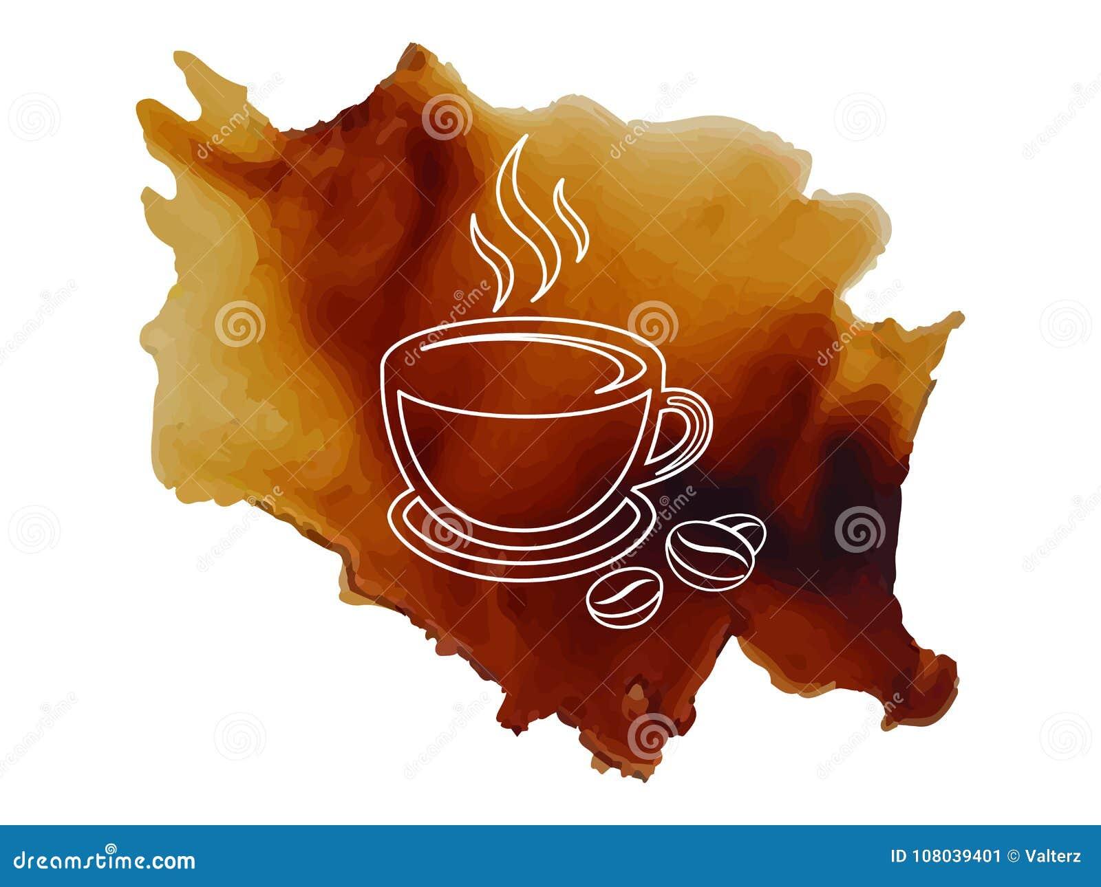 De kop van de embleemkoffie met met koffiebonen schetst op gemorste koffieachtergrond vectorillustratie