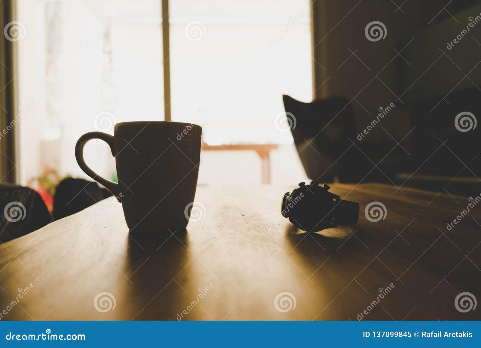 De kop van de koffie op lijst