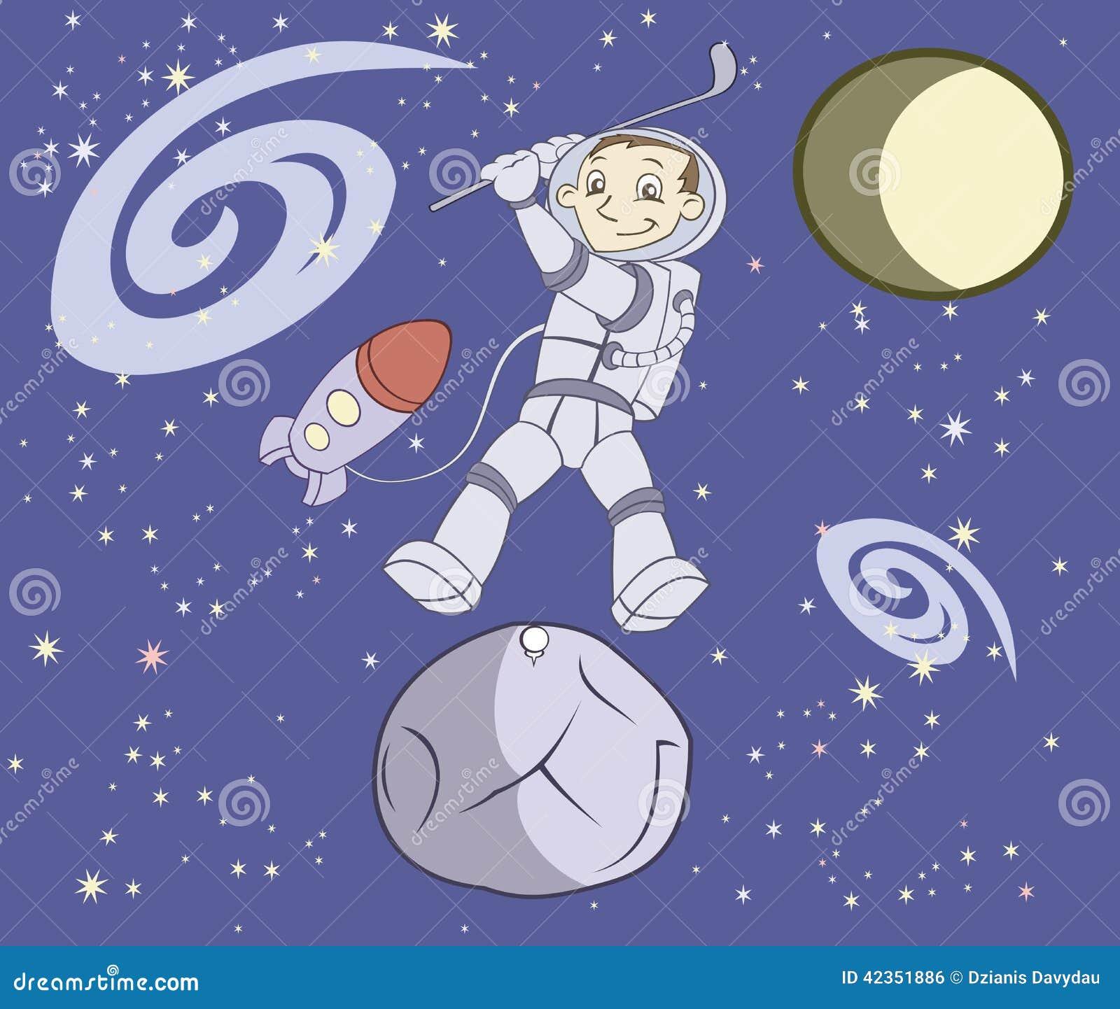 De kosmonaut speelt golf