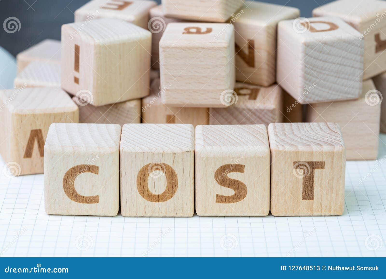 De kosten, uitgave of bedrijf de winst en het verliesconcept, kuberen houten bl