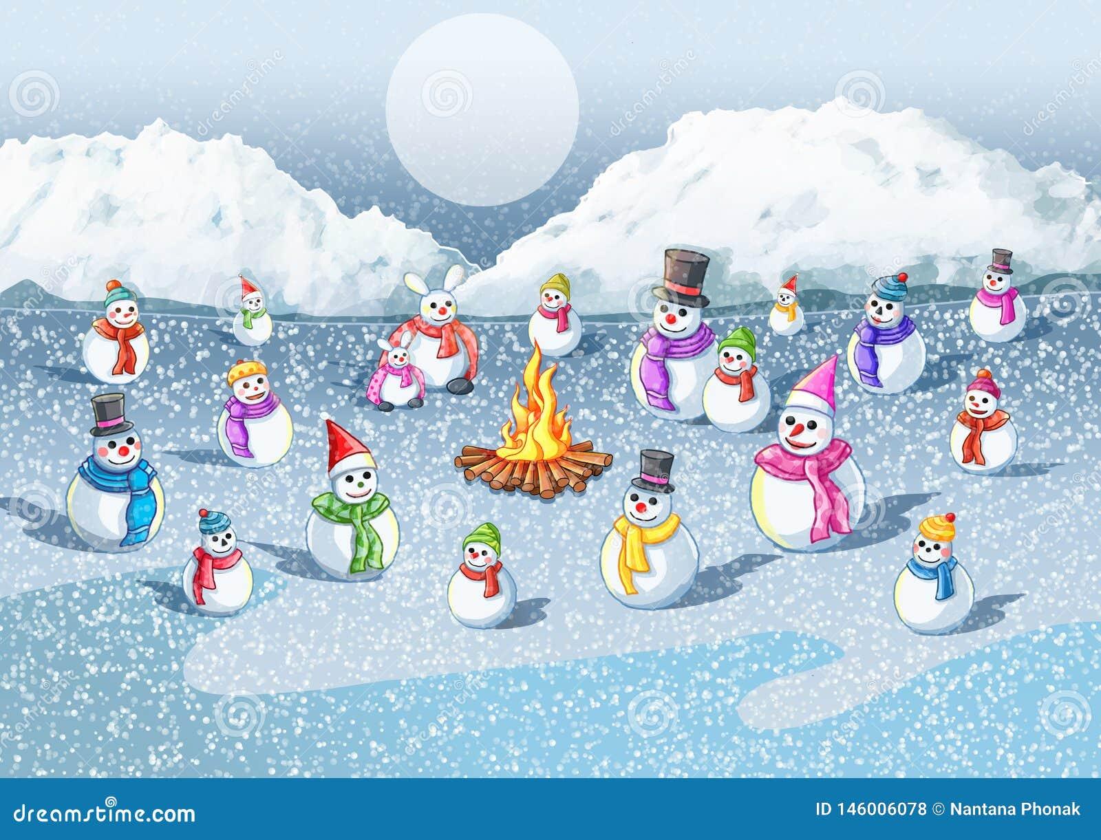 De koude sneeuw de brand geeft warmte aan de sneeuw