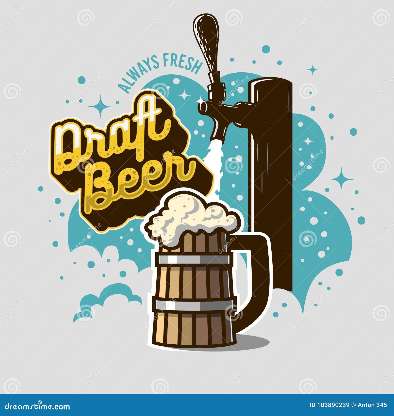 De Kraan van het ontwerpbier met Houten Mok of een Kroes van Bier met Schuimillustratie Afficheontwerp voor Bevordering Grafische