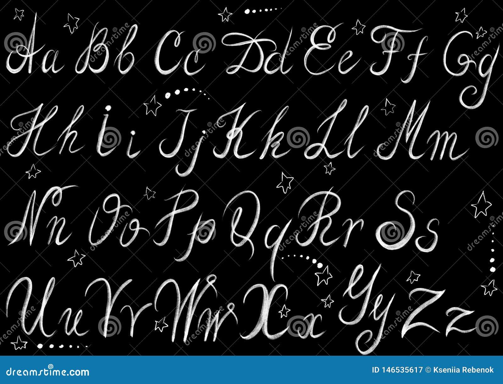 De krijt getrokken brieven van de stijlkalligrafie op de vlakke zwarte achtergrond