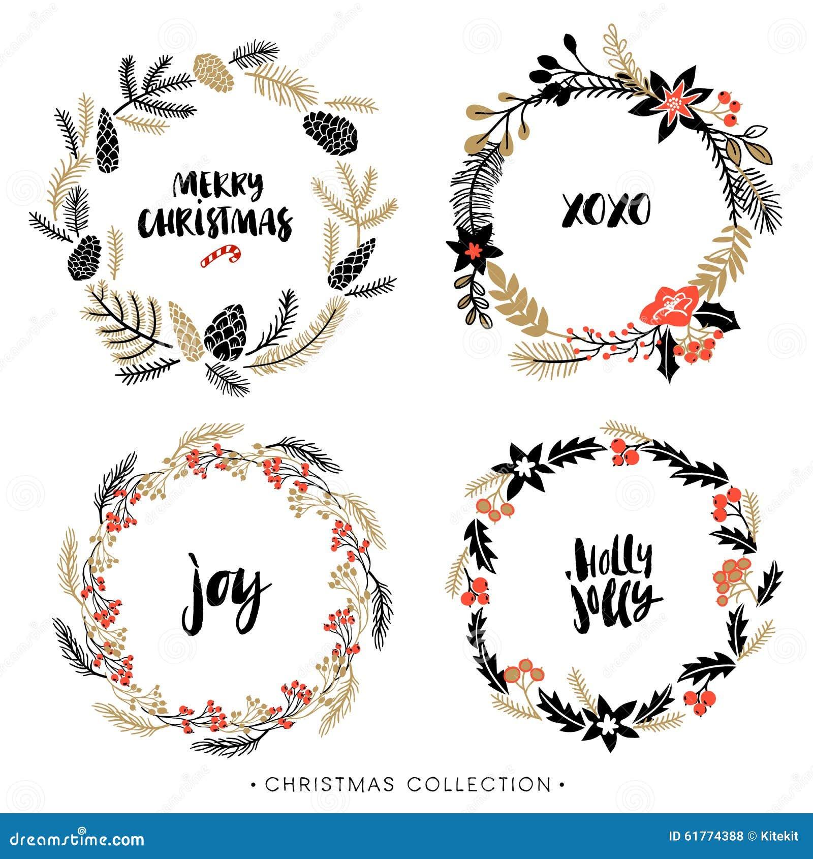 De kronen van de Kerstmisgroet met kalligrafie