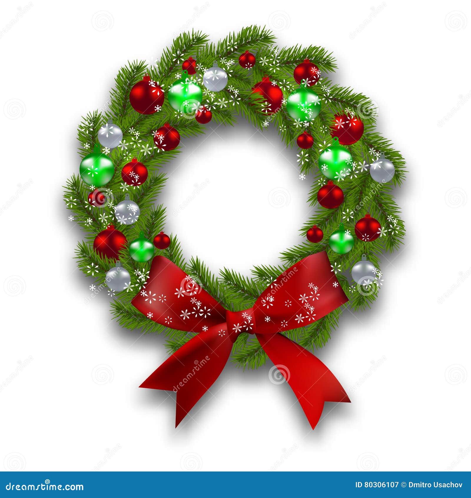 De kroon van Kerstmis Groene tak van spar met rode, zilveren, groene ballen en lint op een witte achtergrond Kerstmis