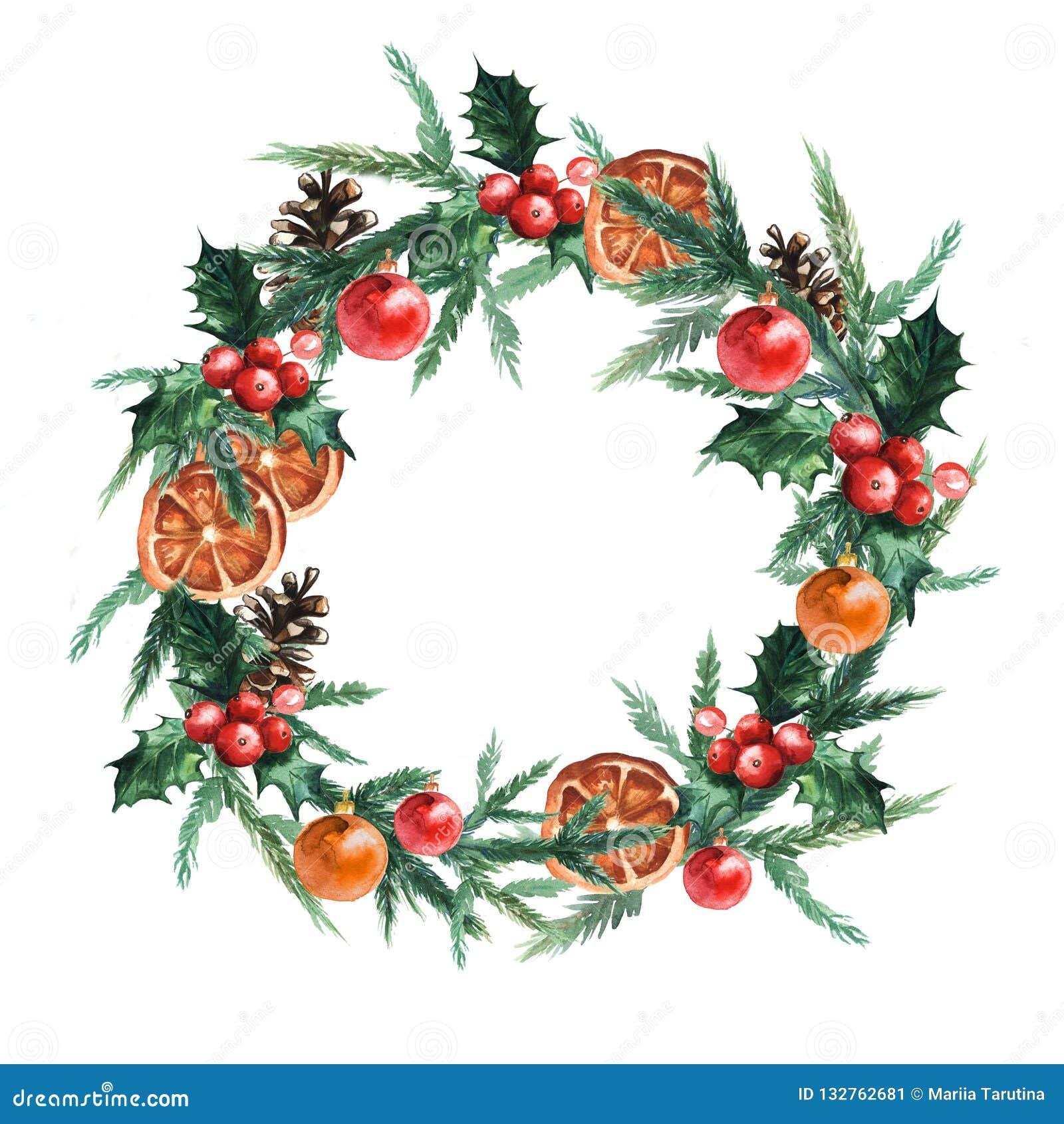 De kroon van waterverfkerstmis met Kerstmisballen, pinecone, misletoe, sinaasappelen en takken van Kerstbomen