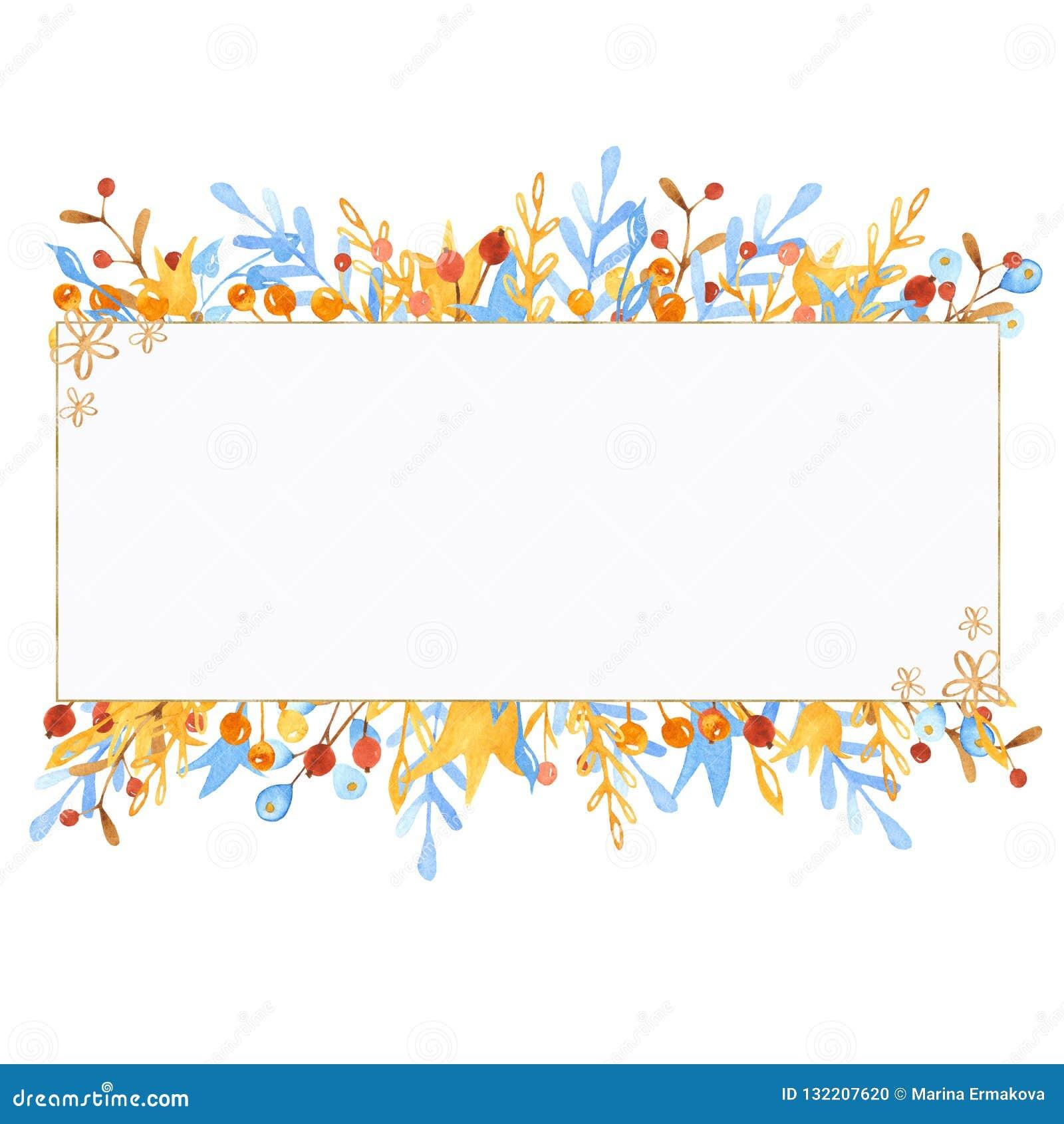 De kroon van de de winterwaterverf, kader, banner met bladeren, bloemen, bessen vertakt zich