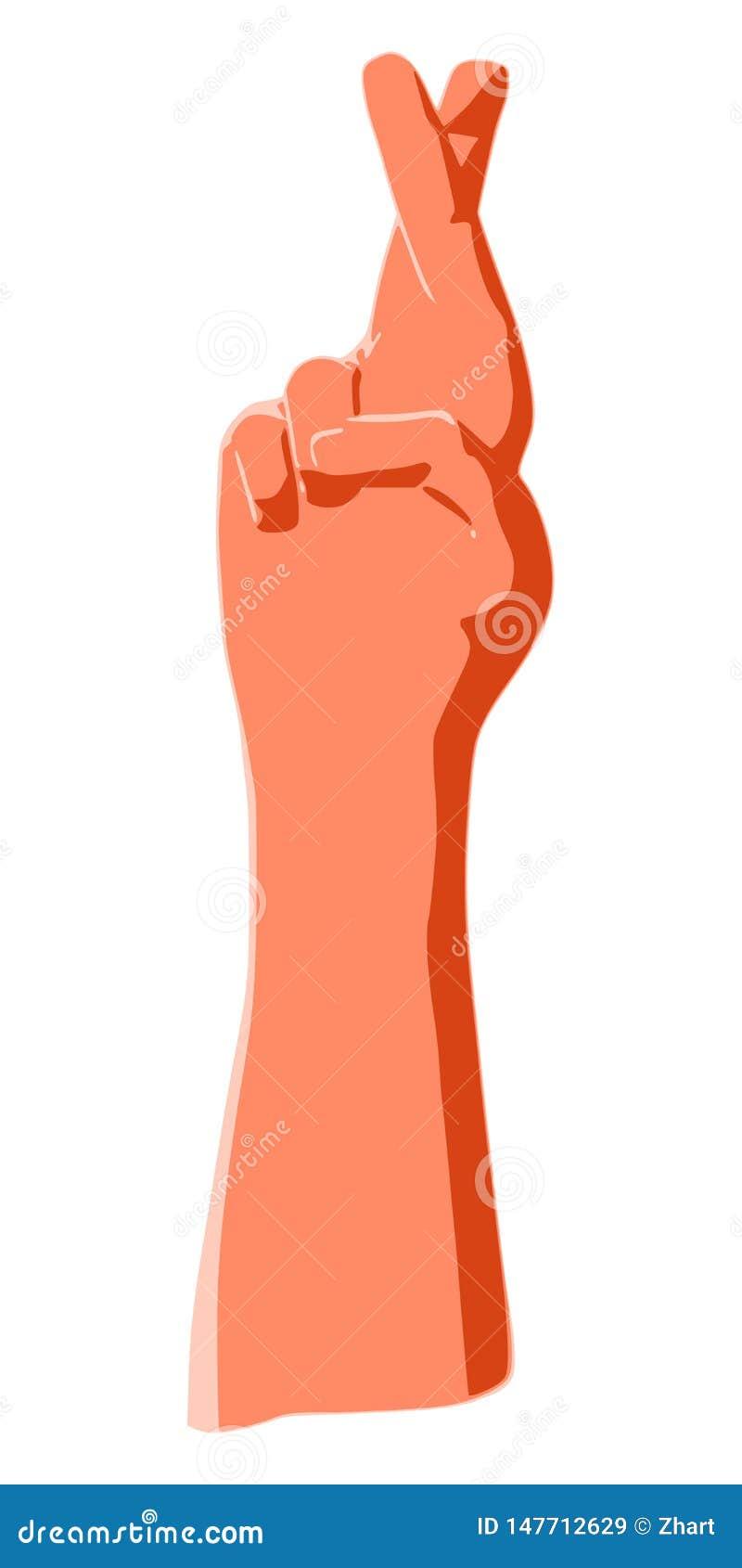 De kruising van vingers als gebaar van het liggen, geluk, bijgeloof, valse belofte